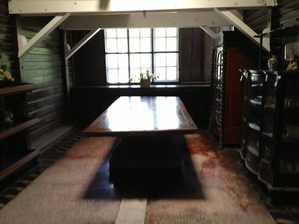 Dining table to the cemented bomb shelter